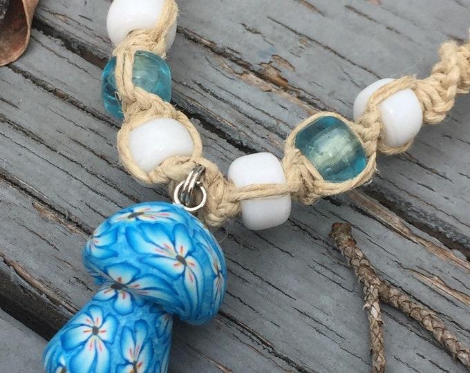 Blue Mushroom Pendant on Handmade Hemp Necklace