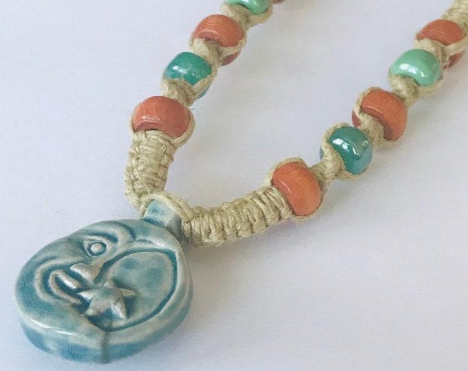 Raku Moon and Star Peruvian Pendant on Handmade Hemp Necklace