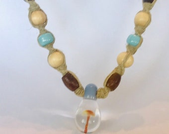 Blown Glass Mushroom Hemp Necklace
