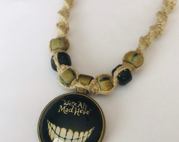 Alice In Wonderland Mad Here Cabochon Pendant on Handmade Hemp Necklace