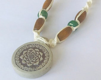 Handmade White Hemp Necklace with High Fired Peruvian Ceramic Pottery Pendant