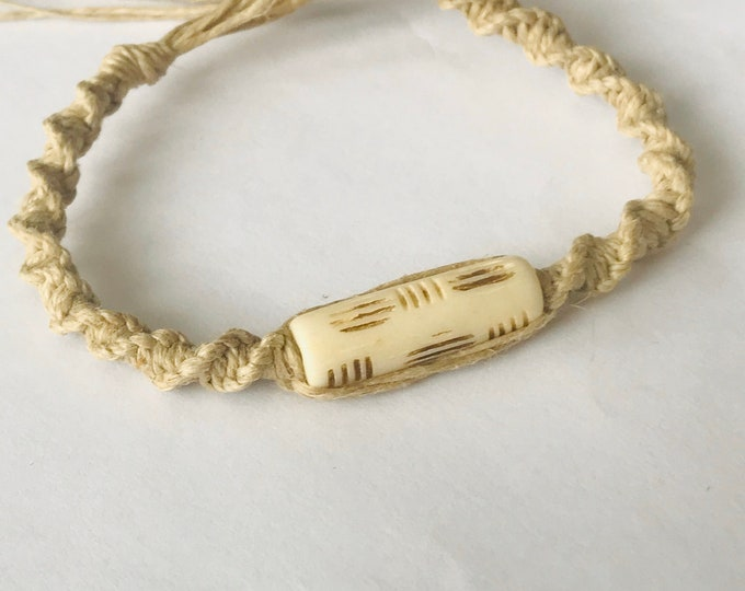 Handmade Hemp Bracelet with Bone Bead