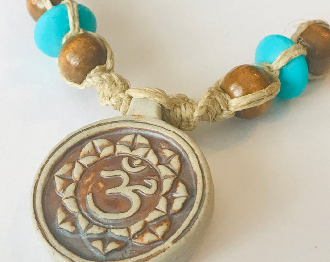 Raku Lotus Pendant on Handmade Hemp Rope Necklace
