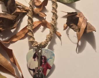 Handmade Hemp Necklace with Janis Joplin Pigpen Guitar Pick Pendant