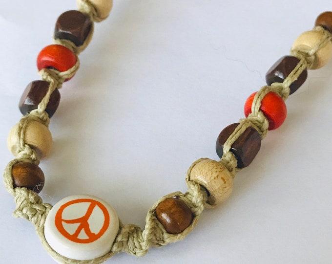 Orange Peace Sign Hemp Necklace