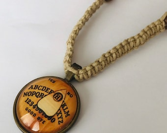 Ouija Cabochon Pendant on Handmade Hemp Necklace