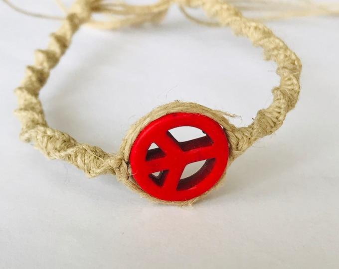 Red Peace Sign Hemp Bracelet