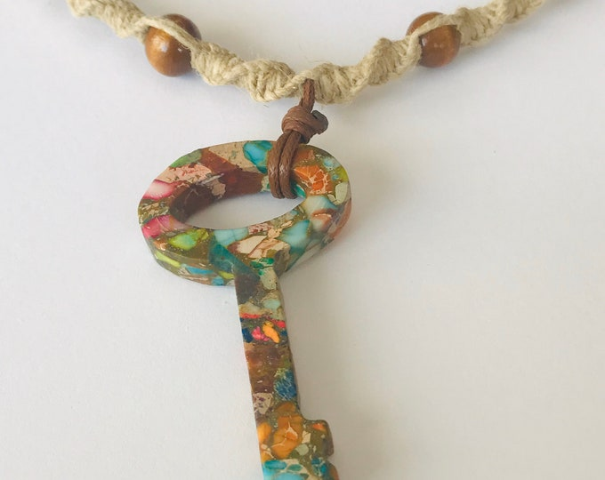 Handmade Hemp Necklace with Large Stone Key Focal Pendant