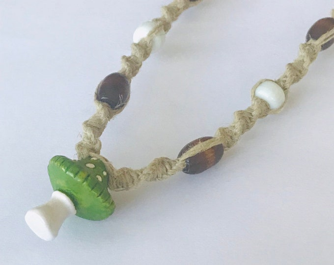 Green Capped Mushroom Pendant on Handmade Hemp Necklace