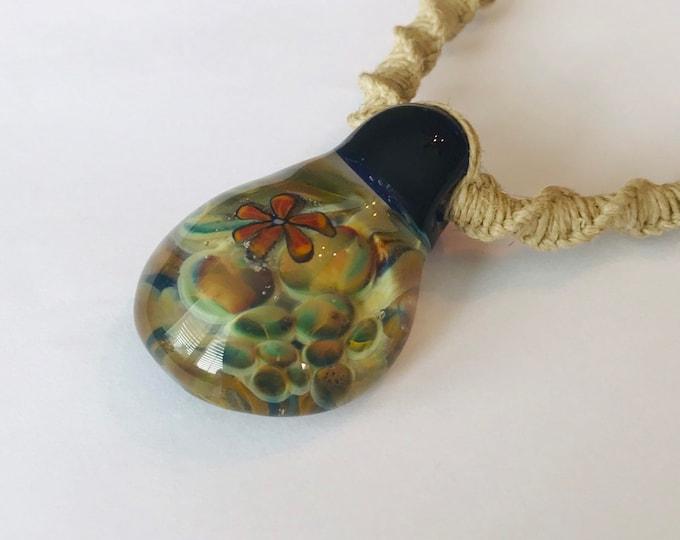 Hand Blown Glass Flower Pendant on Hemp Necklace