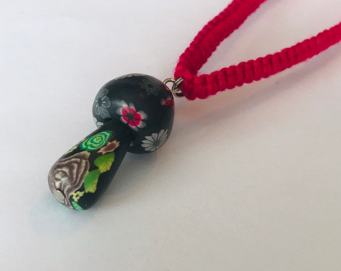 Mushroom Pendant on Hot Pink Bamboo Cord Necklace
