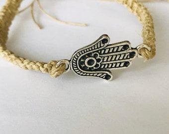Hamsa Flat Hemp Bracelet