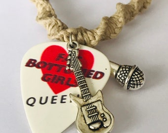 Queen Guitar Pick Handmade Hemp Necklace