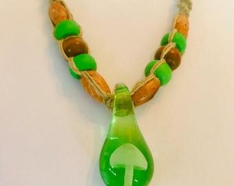 Green Mushroom Glass Pendant on Handmade Hemp Necklace