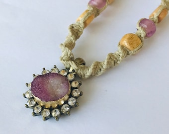 Handmade Hemp Necklace with Crystal Stone Pendant