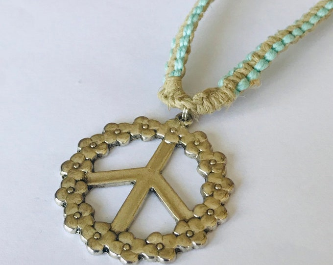 Peace Sign Pendant on Natural and Blue Handmade Hemp Necklace