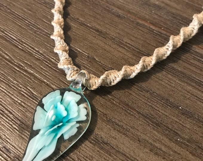 Glass Flower Handmade Hemp Necklace Blue