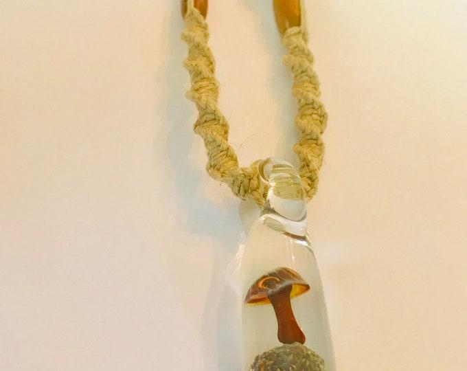 Handmade Hemp Necklace with Blown Glass Mushroom Pendant