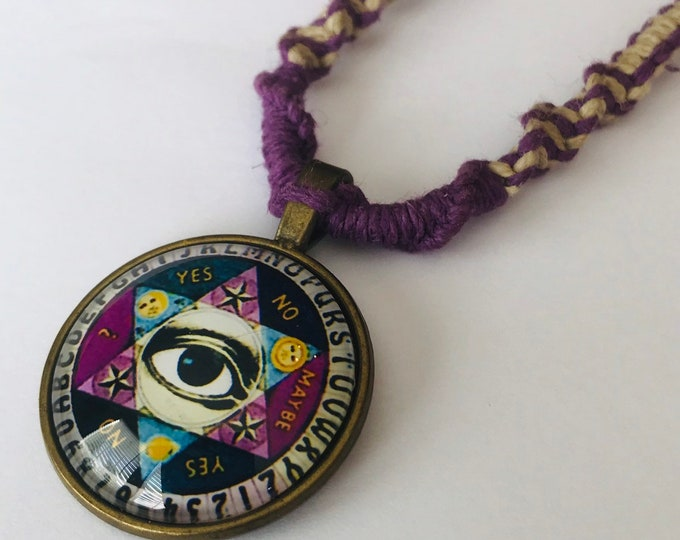 Ouija Pendant on Handmade Hemp Necklace