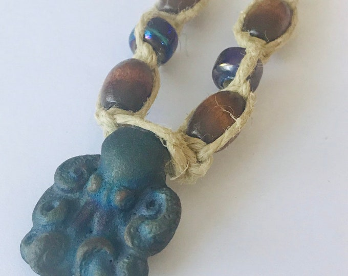 Matte Raku Octopus Pendant on Handmade Hemp Necklace