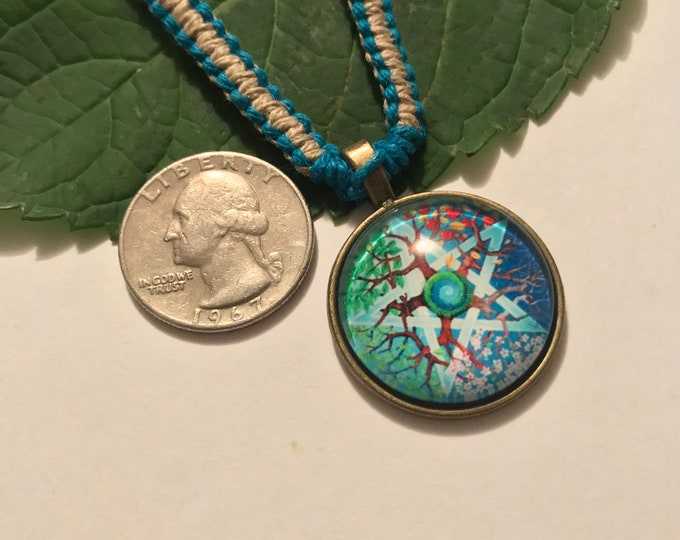 Handmade Hemp Necklace with Glass Cabochon Pendant