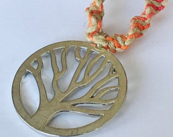 Rainbow handmade hemp tree of life necklace