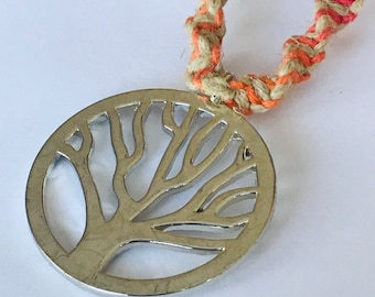 Rainbow handmade hemp tree of life necklace