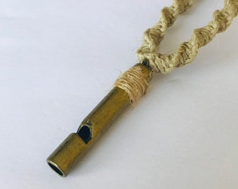 Handmade Hemp Necklace with Faux Whistle Pendant