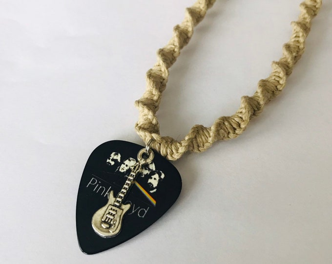 Reversible Pink Floyd Guitar Pick Hemp Necklace