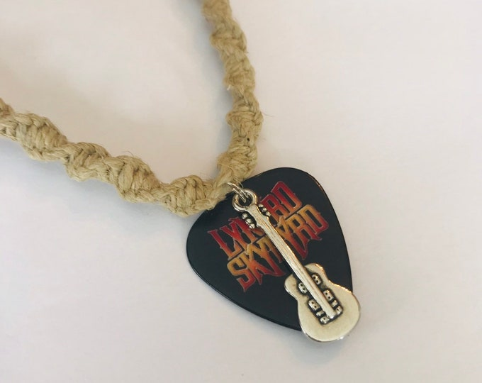 Lynyrd Skynyrd Guitar Pick Pendant on a Handmade Hemp Necklace