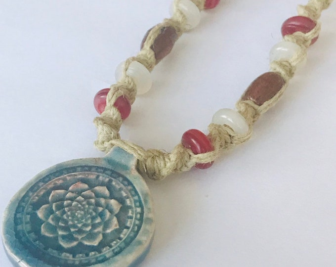 Raku Lotus Hemp Necklace