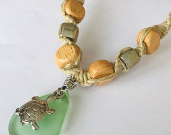 Turtle and Sea Glass Pendant on Handmade Hemp Necklace