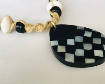 Handmade Hemp Necklace with Shell Pendant Black and White