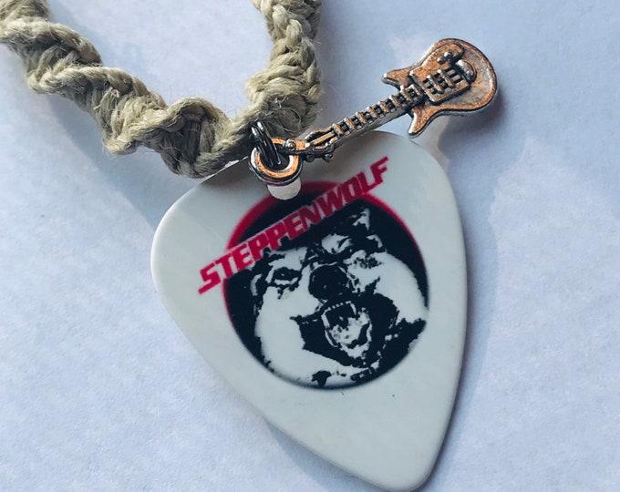 Steppenwolf Handmade Hemp Necklace with Guitar Pick Pendant