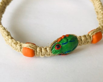Handmade Hemp Bracelet with Ceramic Frog Bead