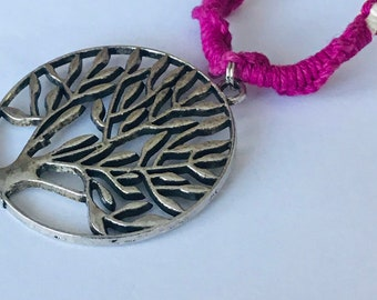 Tree Of Life Handmade Pink and Natural Hemp Necklace