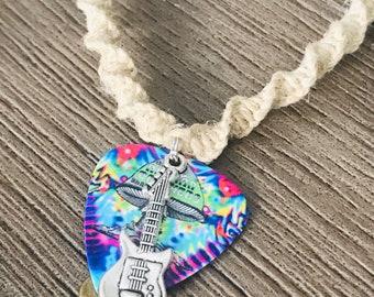 Allman Brothers Band Reversible Guitar Pick Necklace Hemp