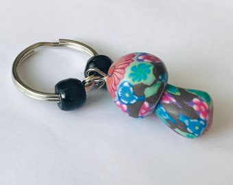 Pink and Black Fimo Clay Mushroom Keychain