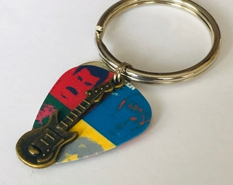 The Beatles Guitar Pick Keychain
