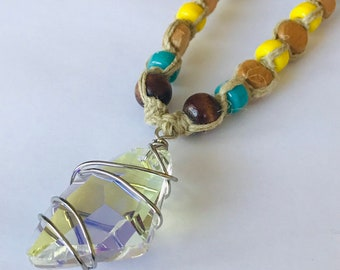 Wire Wrapped Crystal Hemp Necklace