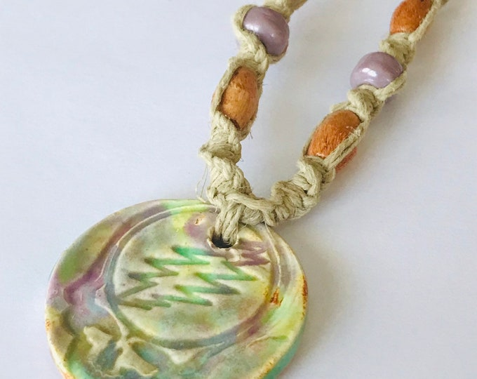 Tie Dye Pottery Pendant Steal Your Face on a Handmade Hemp Necklace