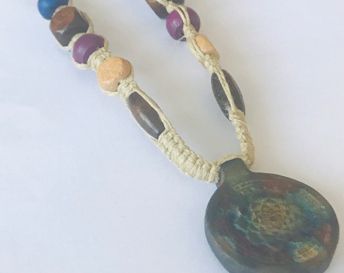 Raku Matte Lotus Hemp Necklace