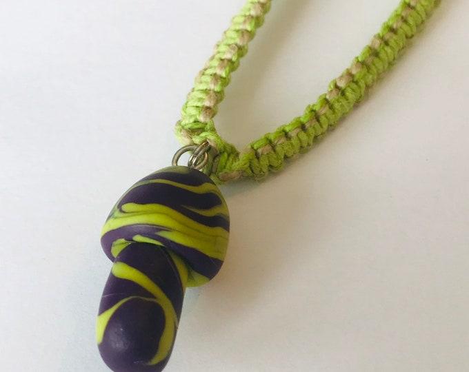 Handmade Hemp Necklace with Fimo Clay Mushroom Pendant Green