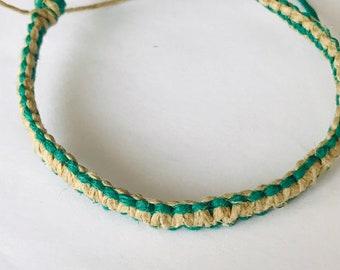 Handmade Natural and Green Hemp Bracelet