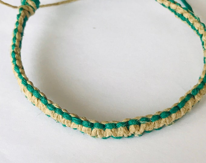 Handmade Natural and Green Hemp Bracelet