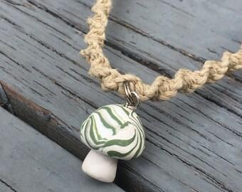 Mushroom Pendant on Handmade Hemp Necklace