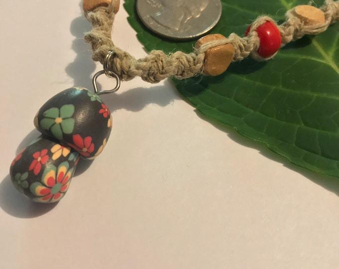 Rasta Mushroom Hemp Necklace