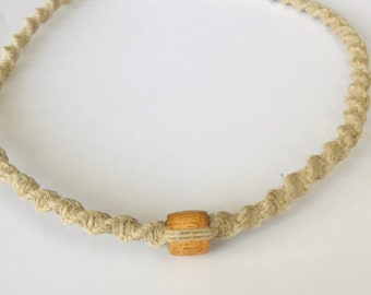 Handmade Hemp Necklace with Wood Bead