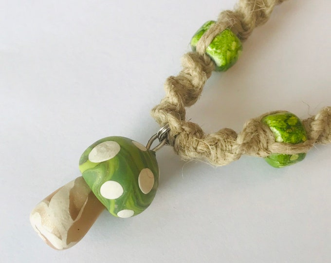 Handmade Hemp Necklace with Clay Mushroom Pendant Green