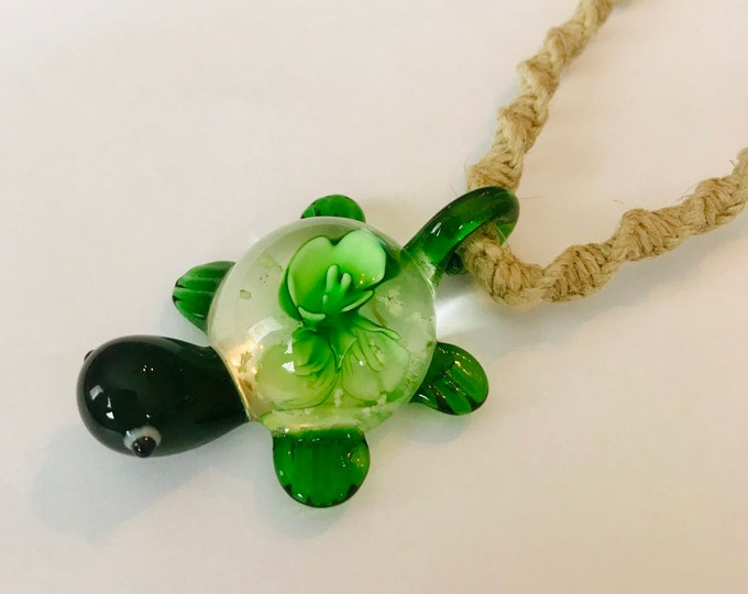 Glass Turtle Pendant on a Handmade Hemp Rope Necklace